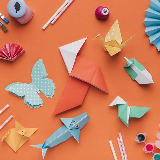 set-origami-paper-art-paintbrush-watercolor-straw-orange-backdrop